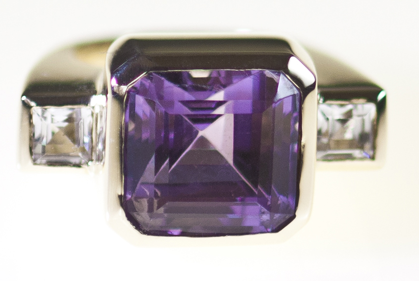Square Emerald Cut Amethyst Dress Ring