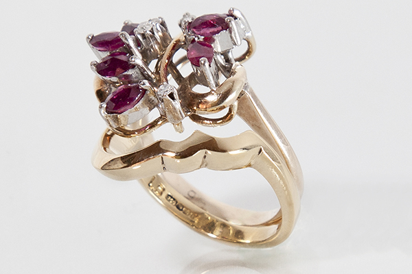 Custom Fit Wedding Ring for Vintage Ruby Cluster