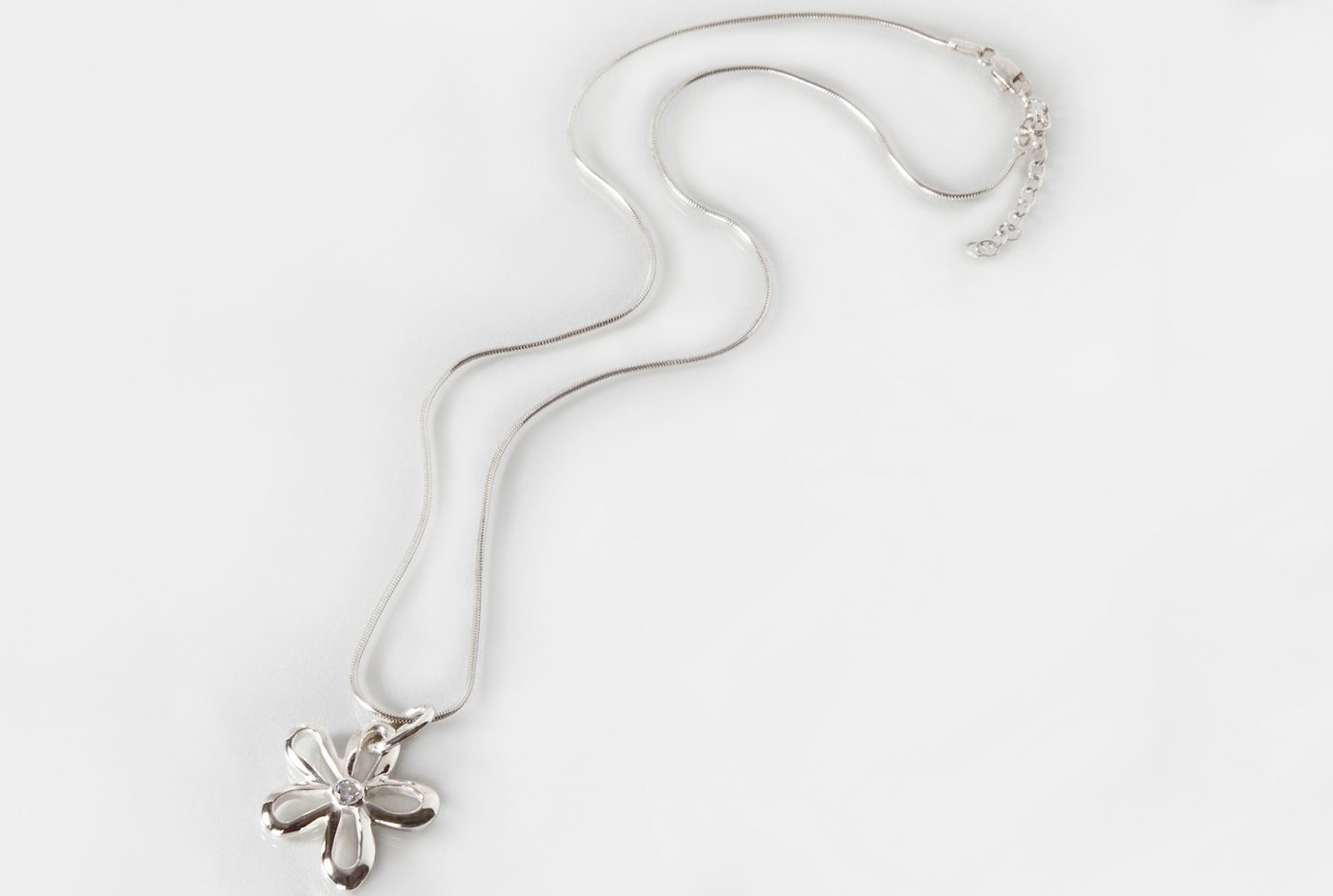 Silver and Diamond Flower Pendant