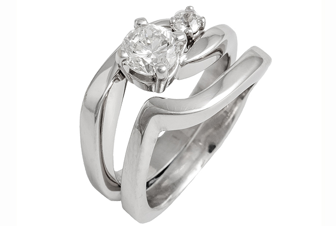 Double Diamond Enagement Ring