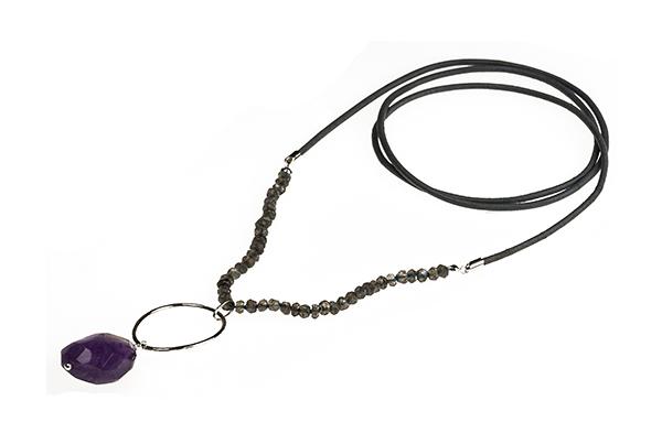 Amethyst Drop with Labradorite Long Necklace £65.00