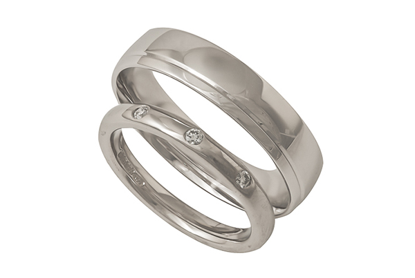 Palladium and White Gold Wedding Rings