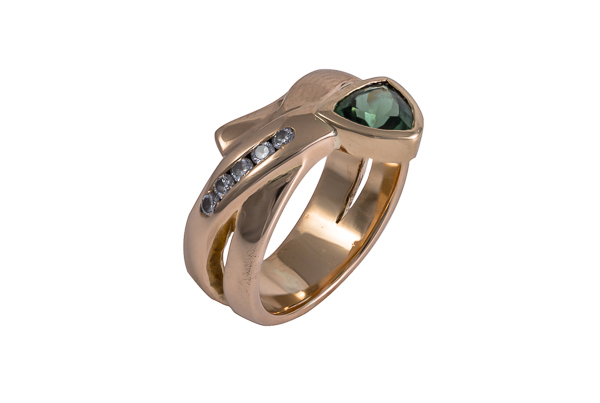 Tourmaline Trillion Cut and Diamond Wrap Ring
